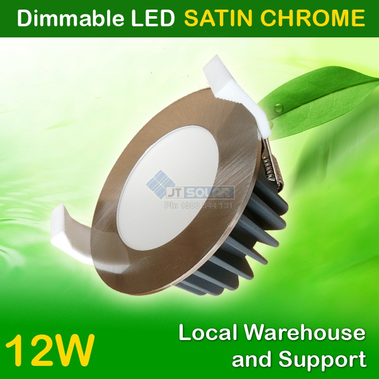 1- 20 AU Approved Local Stocked 12W Dimmable LED Downlight Kit 90mm Cutout  - Satin Chrome