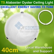 T5 Energy Saving Tube Included Alabaster Tri Clips Oyster Ceiling Light -  40cm