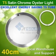 T5 Energy Saving Tube Incl Solo Satin Chrome Oyster Ceiling Light - 40cm