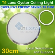 T5 Energy Saving Tube Incl Luna Frame Satin Chrome Oyster Ceiling Light - 30cm