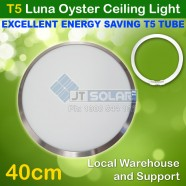 T5 Energy Saving Tube Incl Luna Frame Satin Chrome Oyster Ceiling Light - 40cm