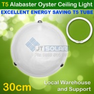 T5 Energy Saving Tube Included Alabaster Tri Clips Oyster Ceiling Light - 30cm