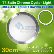 T5 Energy Saving Tube Incl Solo Satin Chrome Oyster Ceiling Light - 30cm