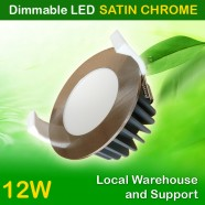 AU Approved Best Price 12W Dimmable LED Downlight Kit 90mm Cutout - Satin Chrome